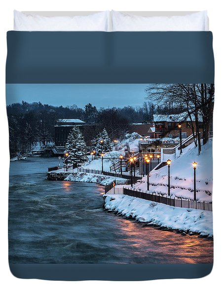 Duvet Cover featuring the photograph Winter Canal Walk by Everet Regal