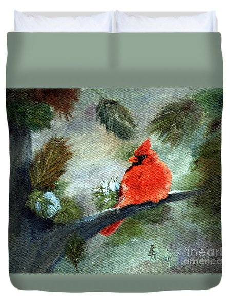 Winter Cardinal Duvet Cover by Brenda Thour