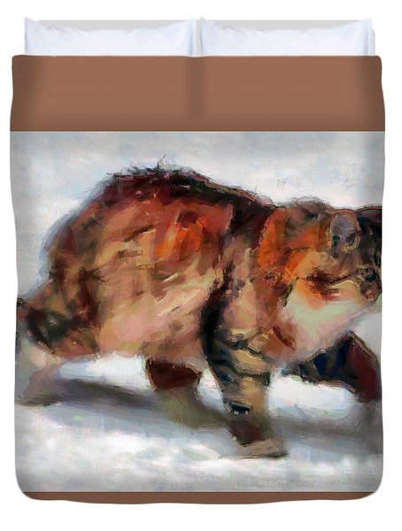 Winter Cat Duvet Cover