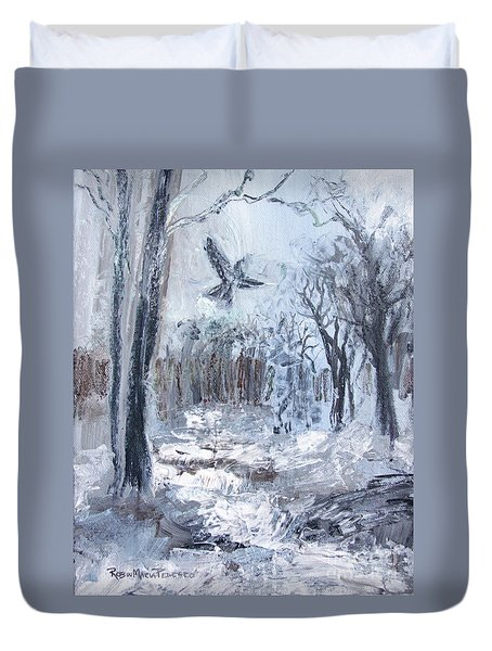Duvet Cover featuring the painting Winter Caws by Robin Maria Pedrero