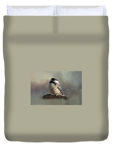 Winter Chicadee Duvet Cover