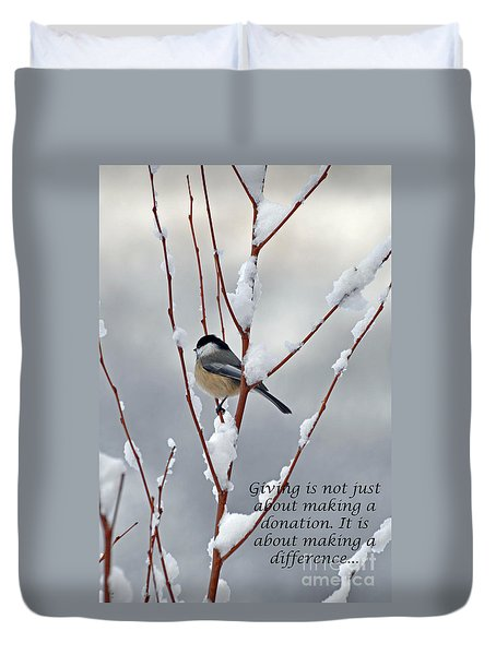 Winter Chickadee Giving Duvet Cover