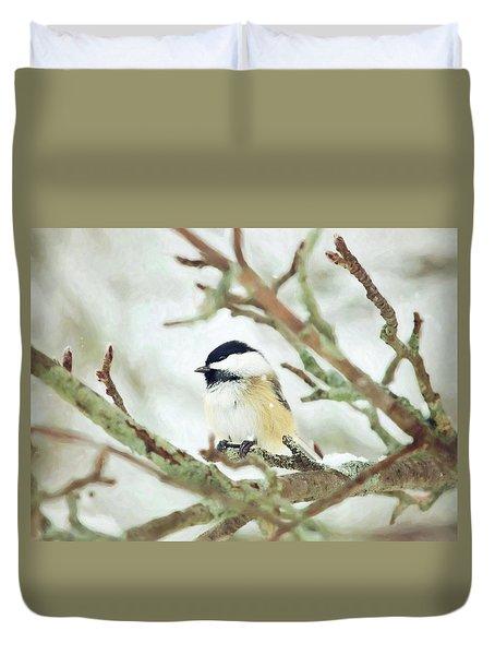 Winter Chickadee Duvet Cover