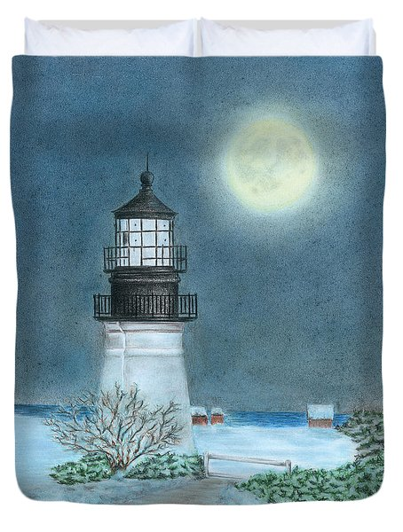 Duvet Cover featuring the drawing Winter Coast by Troy Levesque