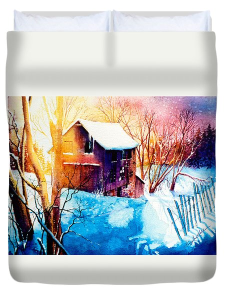 Duvet Cover featuring the painting Winter Color by Hanne Lore Koehler