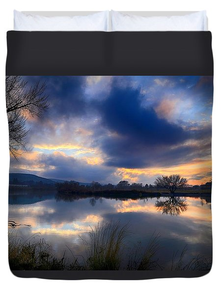 Winter Colors At Sunset Duvet Cover by Lynn Hopwood