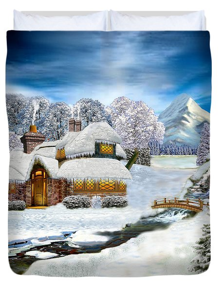 Winter Country Cottage Duvet Cover