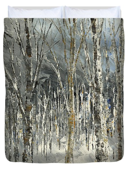Duvet Cover featuring the painting Winter Country by Tatiana Iliina