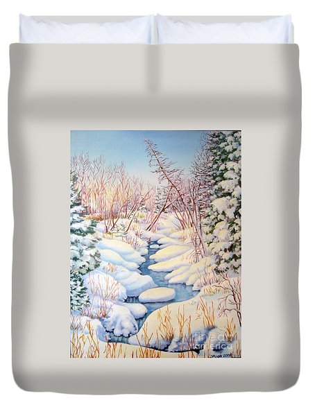 Duvet Cover featuring the painting Winter Creek 1  by Inese Poga