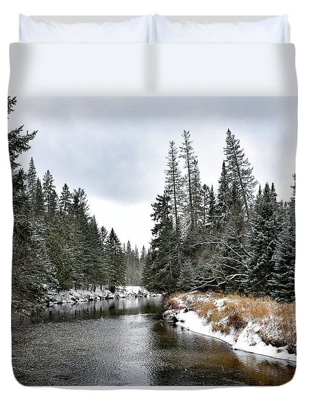 Duvet Cover featuring the photograph Winter Creek In Adirondack Park - Upstate New York by Brendan Reals