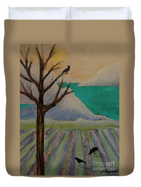 Duvet Cover featuring the painting Winter Crows by Jeanette French