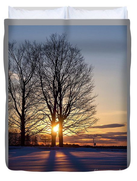 Winter, Crystal Spring Farm, Brunswick, Maine -78592 Duvet Cover