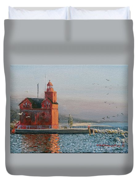 Winter Day At Big Red Duvet Cover