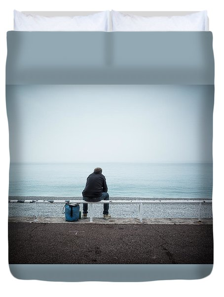 Winter Day At The Beach Duvet Cover