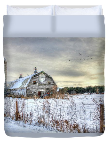 Duvet Cover featuring the digital art Winter Days In Vermont by Sharon Batdorf