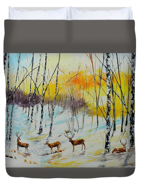 Winter Deer Duvet Cover