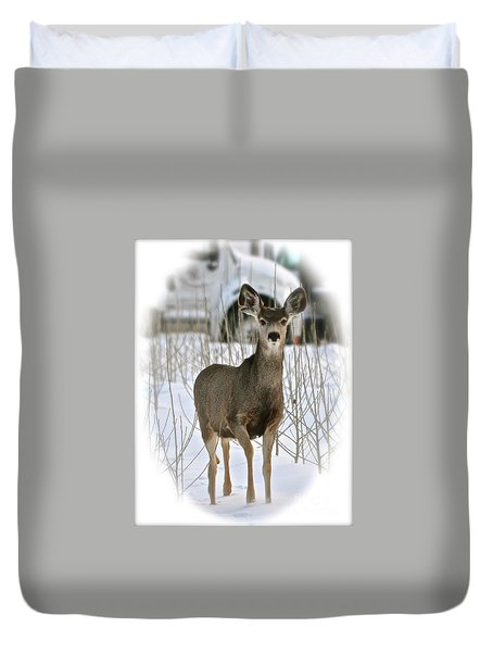 Winter Deer On The Tree Farm Duvet Cover