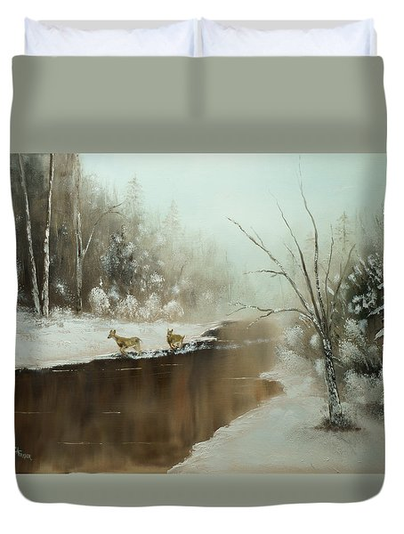 Duvet Cover featuring the painting Winter Deer Run by Chris Fraser