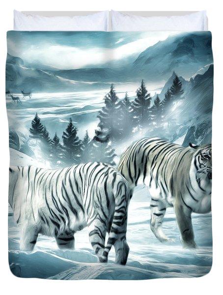 Winter Deuces Duvet Cover by Lourry Legarde