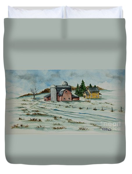 Winter Down On The Farm Duvet Cover by Charlotte Blanchard