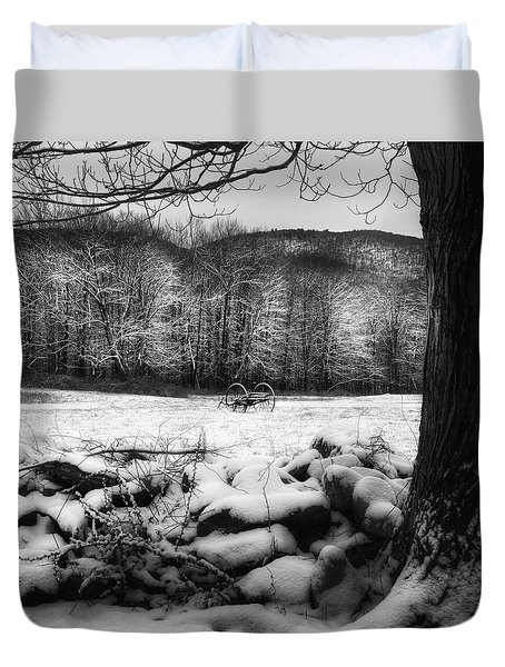 Duvet Cover featuring the photograph Winter Dreary Square by Bill Wakeley
