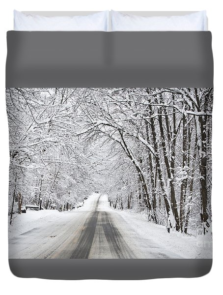Winter Drive On Highway A Duvet Cover