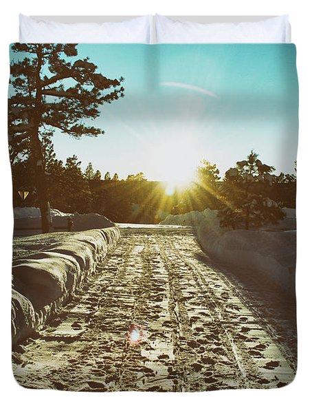 Winter Driveway Sunset Duvet Cover