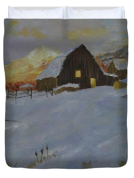 Winter Dusk On The Farm Duvet Cover
