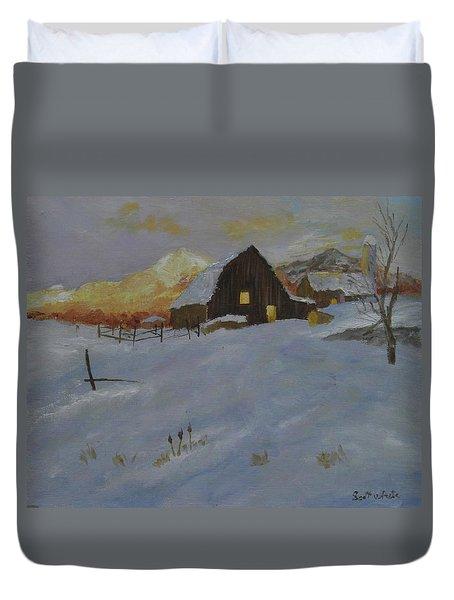 Winter Dusk On The Farm Duvet Cover