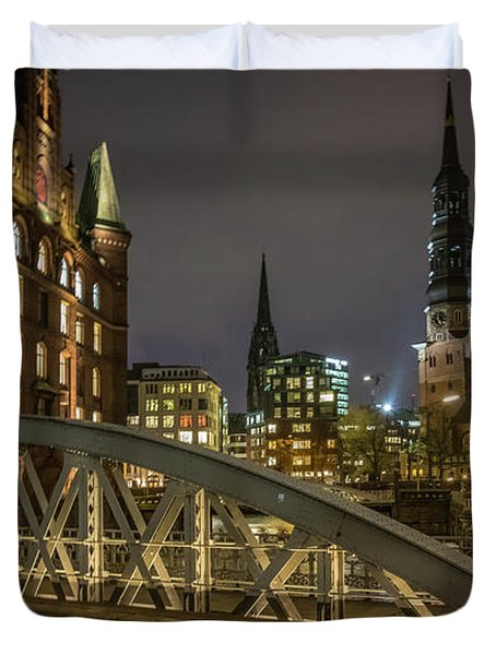 Winter Evening In Hamburg  Duvet Cover