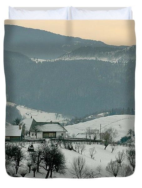 Winter Evening In The Mountains Duvet Cover