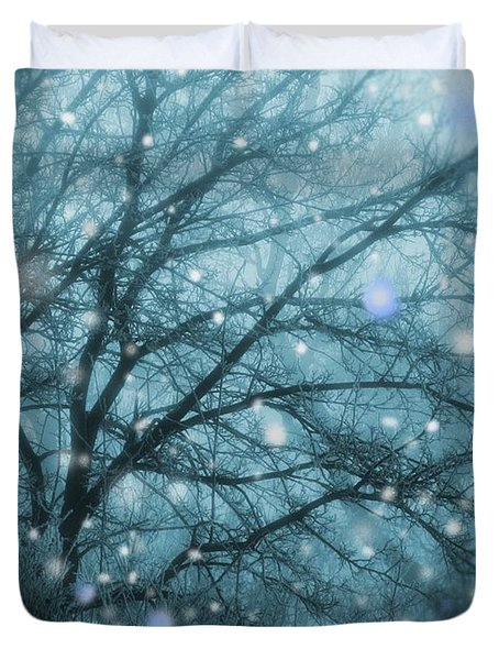 Winter Evening Snowfall Duvet Cover