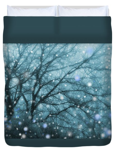 Winter Evening Snowfall Duvet Cover