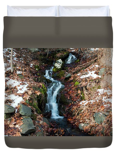 Winter Falls At Franny Reese Duvet Cover by Jeff Severson