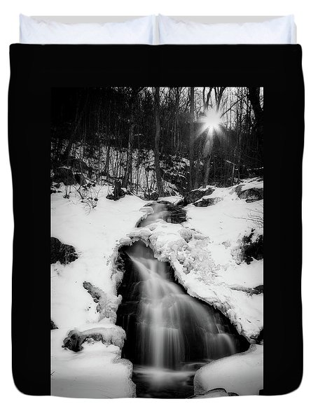 Duvet Cover featuring the photograph Winter Falls With Sun by Alan Raasch