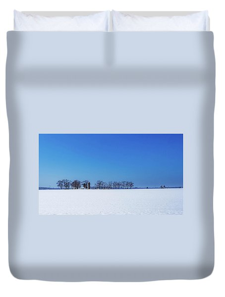 Winter Farm Blue Sky Duvet Cover