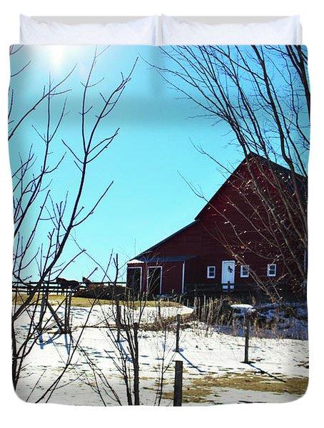 Winter Farm House Duvet Cover