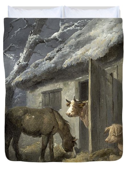 Winter Farmyard Duvet Cover by George Morland