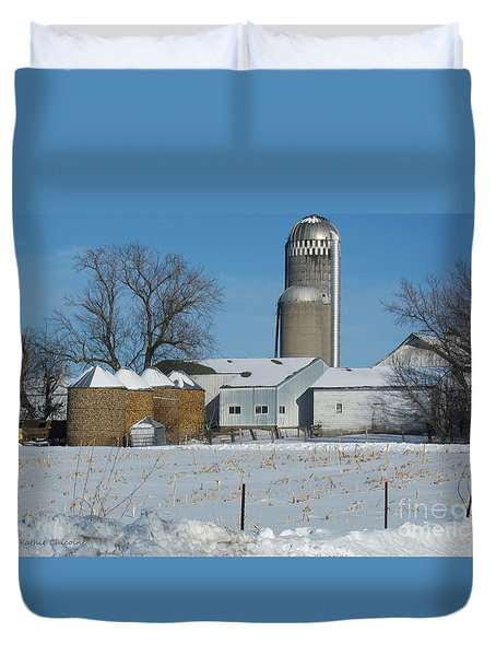 Winter Feed Duvet Cover by Kathie Chicoine