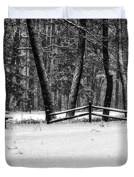 Winter Fences In Black And White  Duvet Cover