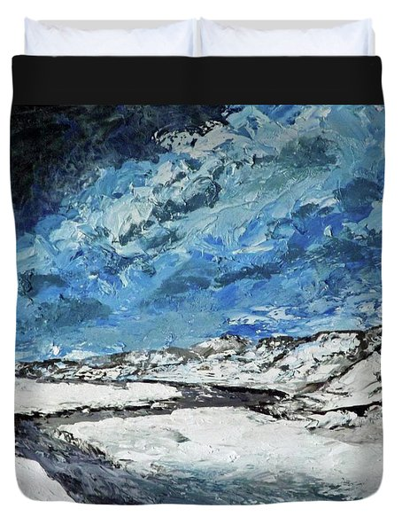 Winter Filled Arroyo Duvet Cover