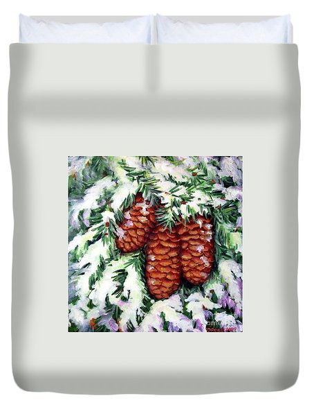 Winter Fir Cones Duvet Cover