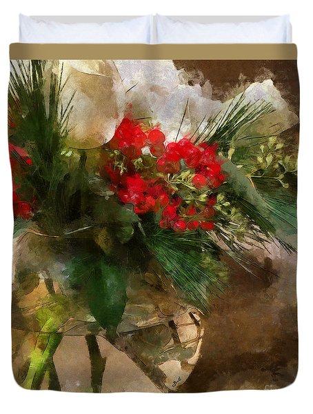 Winter Flowers In Glass Vase Duvet Cover