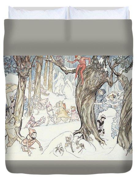 Winter Frolic Duvet Cover by Arthur Rackham