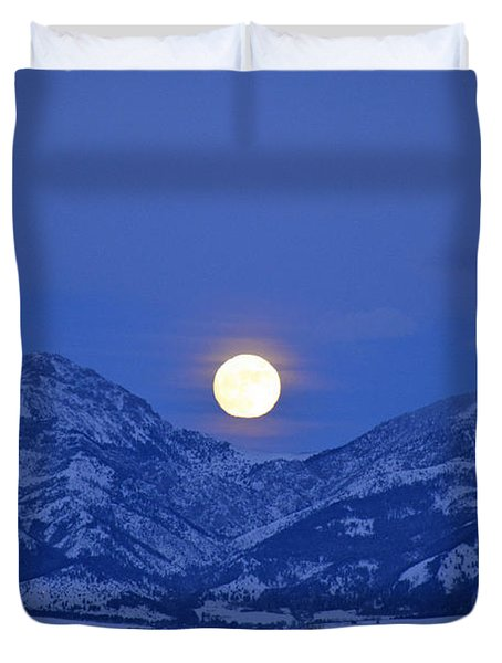 Winter Full Moon Over The Rockies Duvet Cover