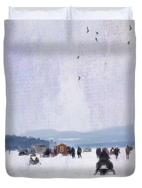Winter Fun On The Lake Duvet Cover