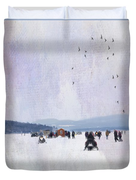 Winter Fun On The Lake Duvet Cover by Betty Pauwels
