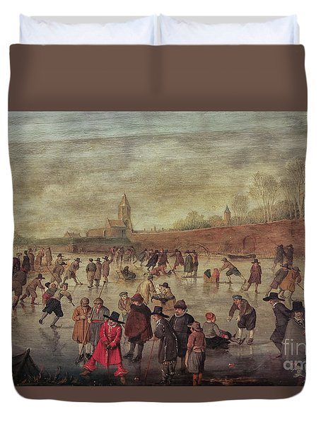 Duvet Cover featuring the photograph Winter Fun Painting By Barend Avercamp by Patricia Hofmeester