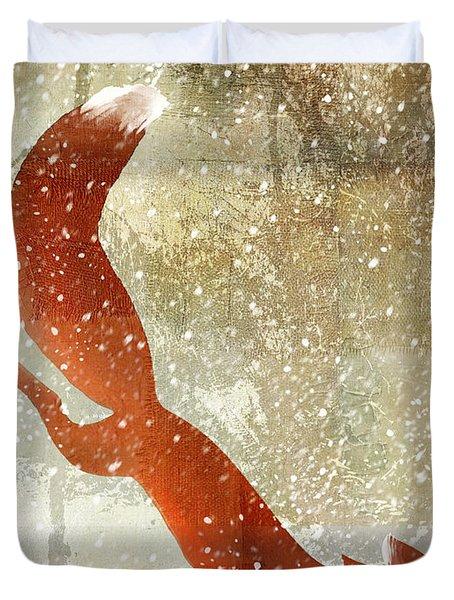 Winter Game Fox Duvet Cover