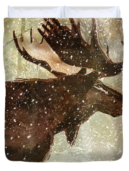 Winter Game Moose Duvet Cover